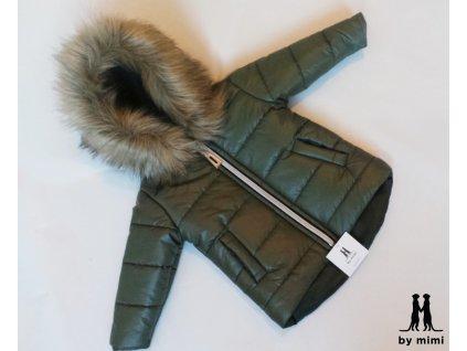Zimní bunda s kožešinou zelená
