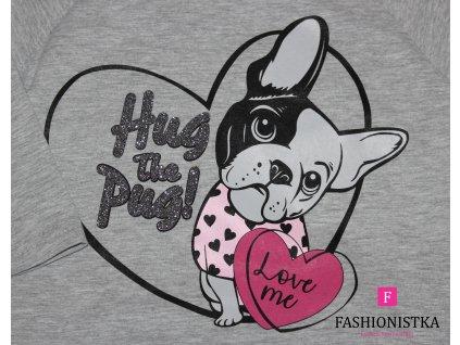 Tričko šedé s bulldogem