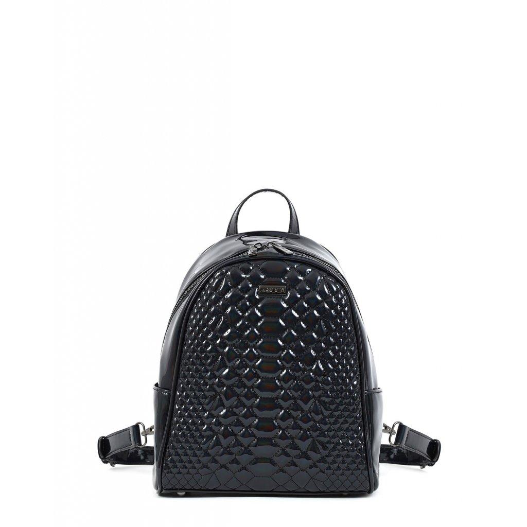 černý lesklý batoh  DOCA