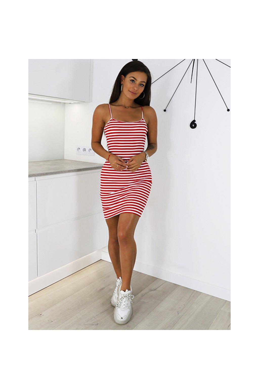 Červené proužkované dámské letní šaty na ramínka (2)