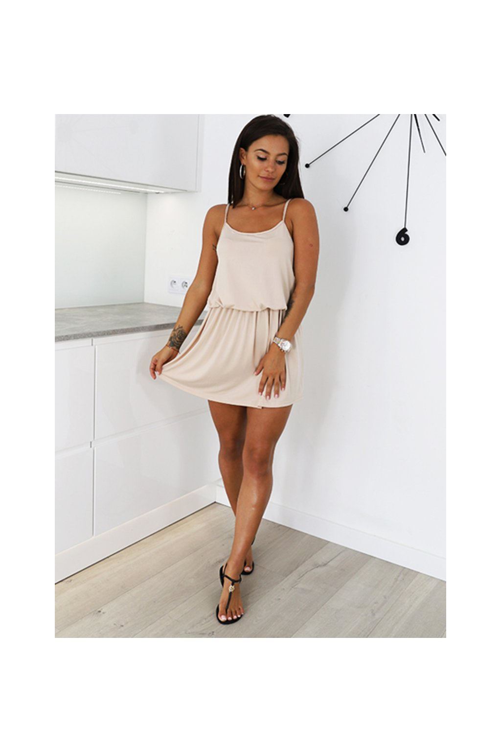 Béžové dámské letní šaty na ramínka (2)