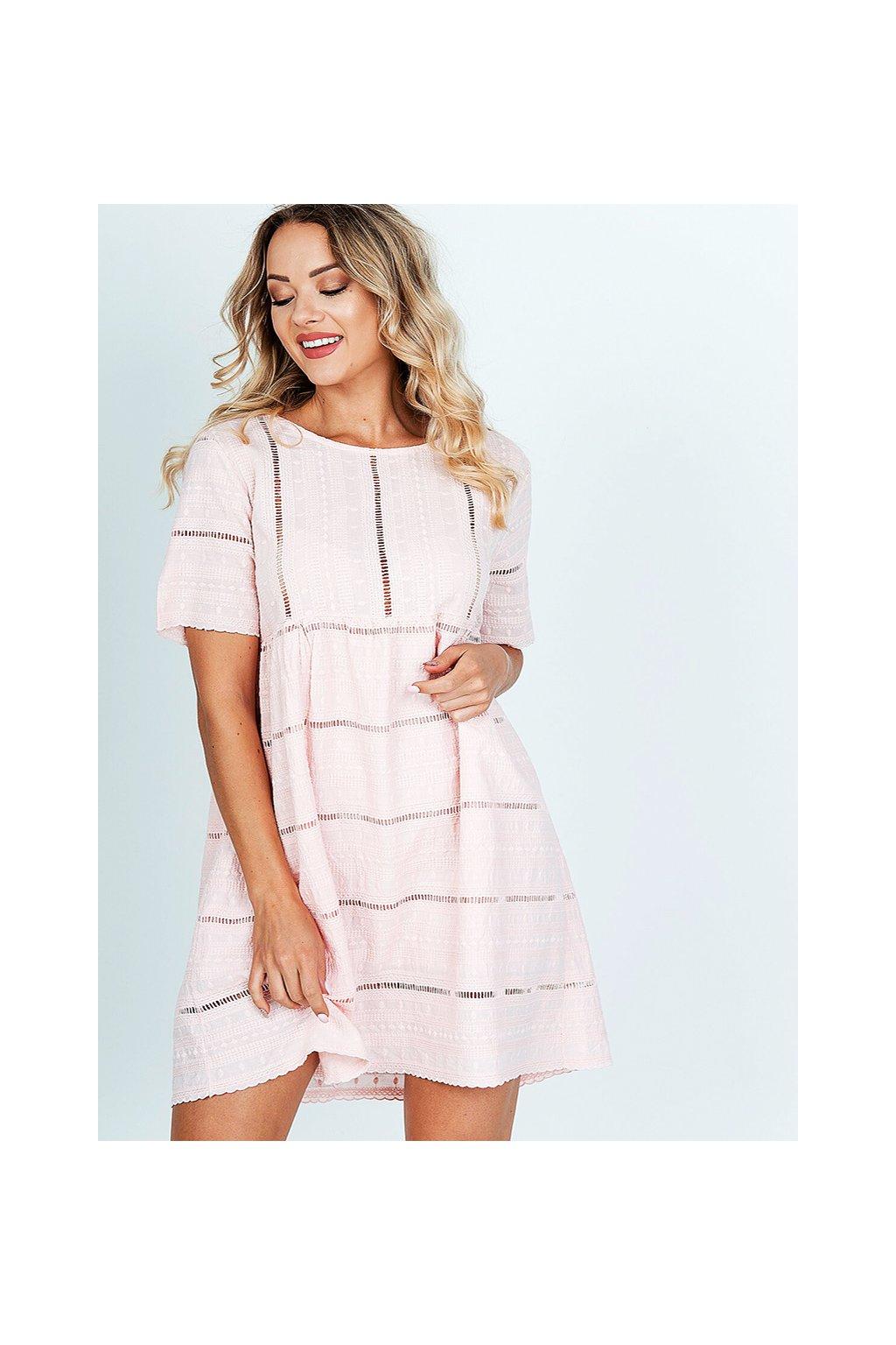 Světle růžové dámské letní bavlněné šaty (6)