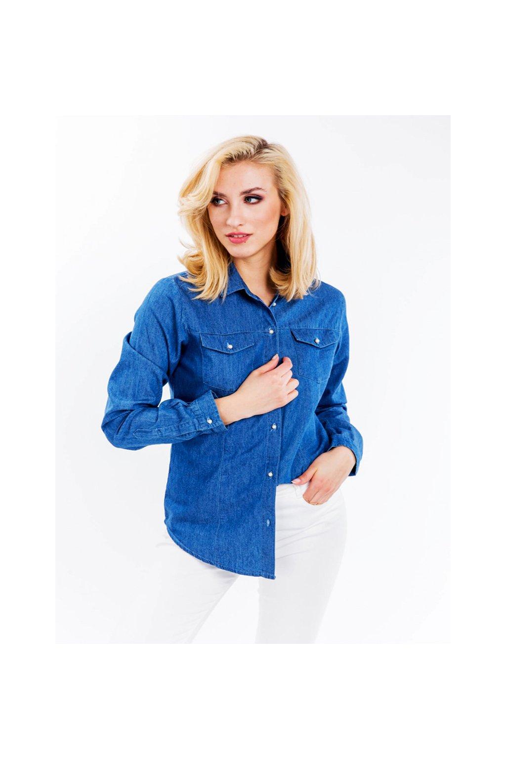 Modrá dámská džínová košile