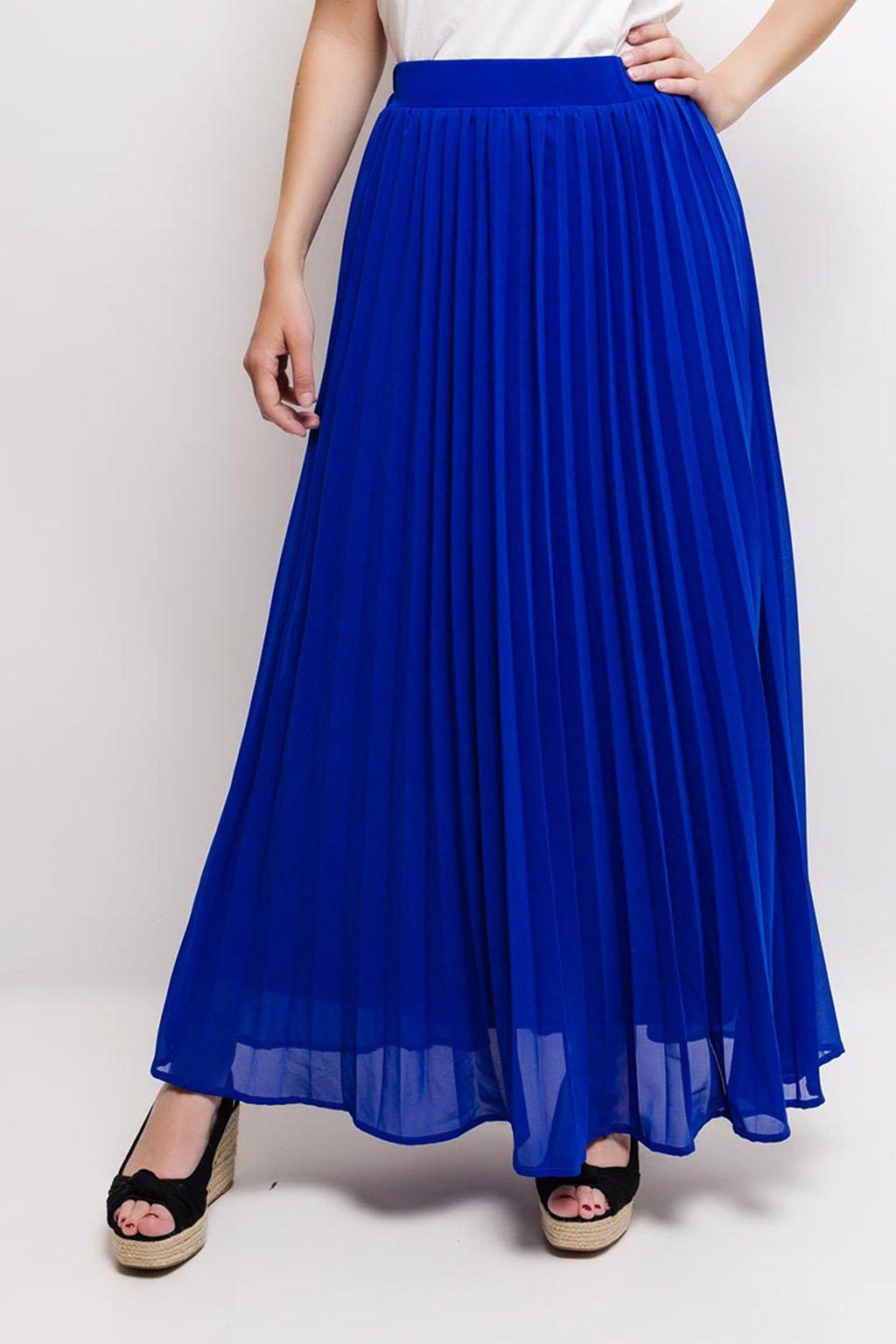 Modrá plisovaná maxi sukně
