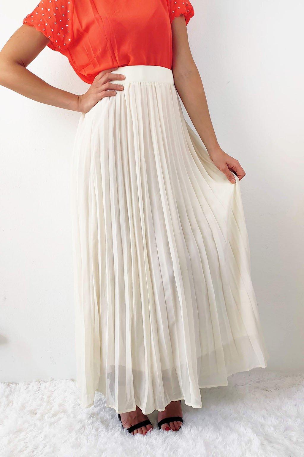 Béžová dámská plisovaná maxi sukně
