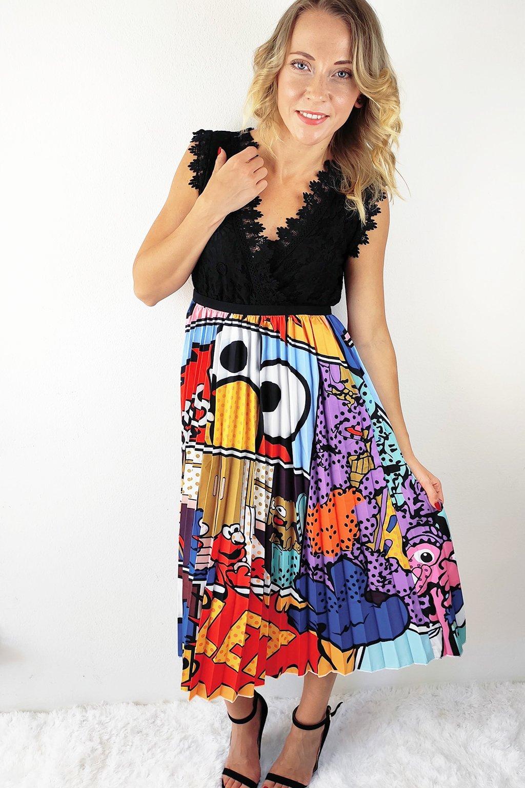 Barevná plisovaná sukně s komiksovým potiskem (3)