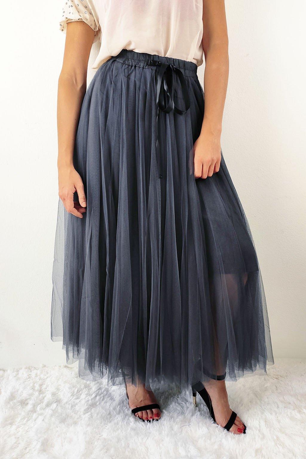 Tmavě šedá dámská tylová sukně