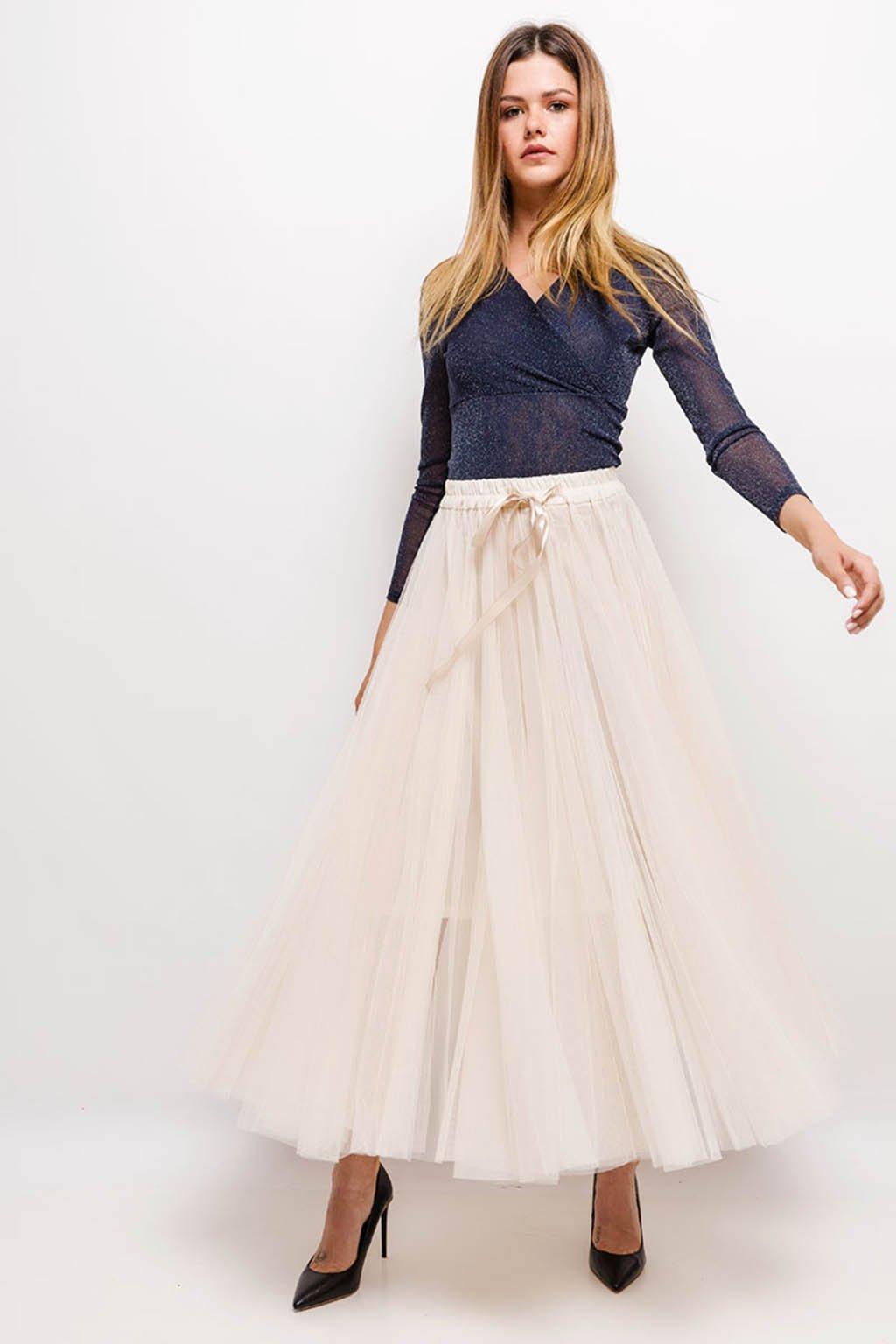 Béžová dámská tylová sukně
