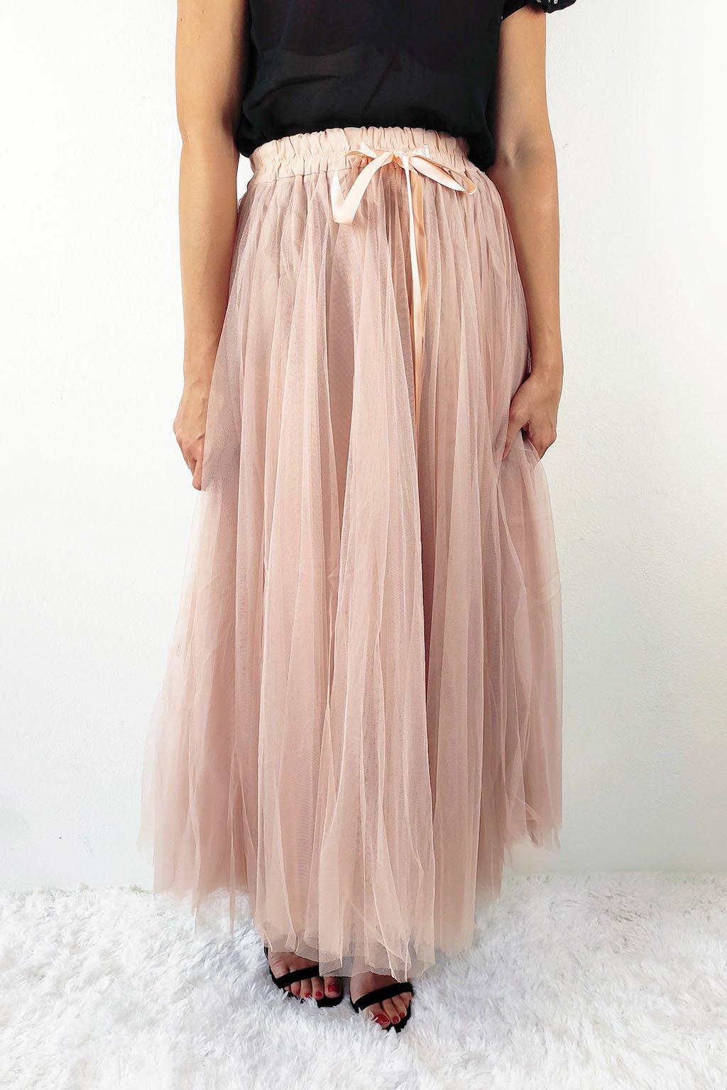 Starorůžová dámská tylová sukně (2)