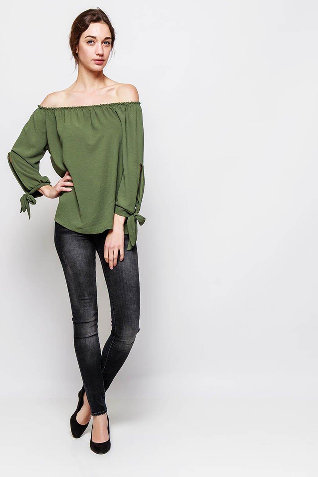 Khaki dámská halenka s odhalenými rameny