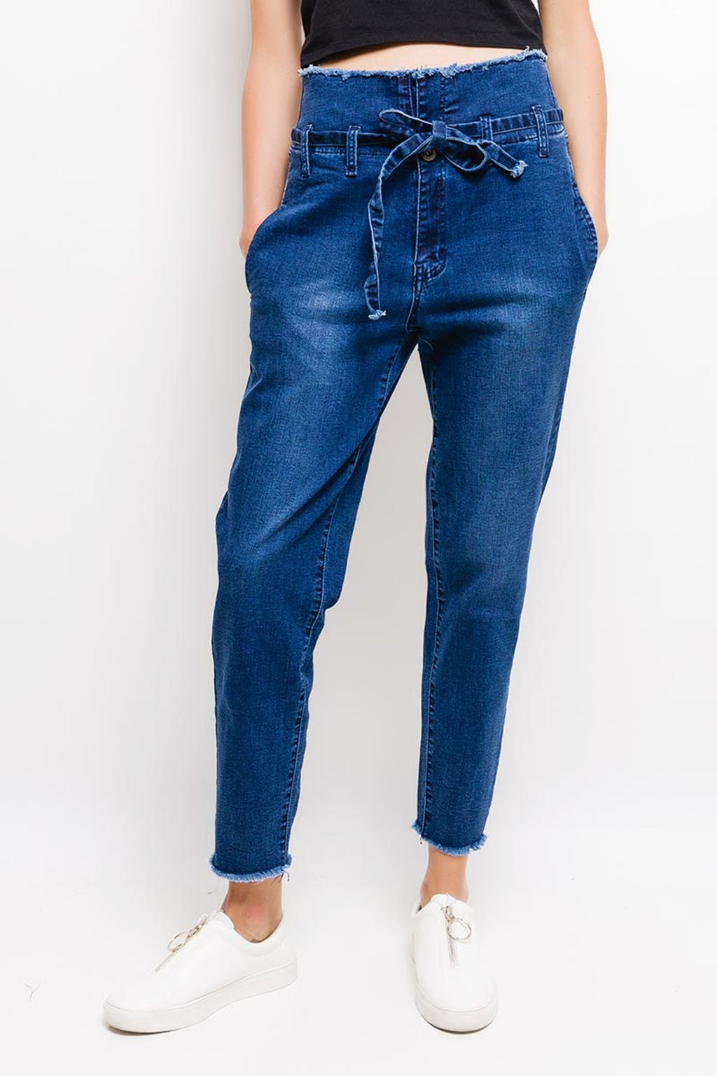 Modré dámské džíny s vysokým pasem