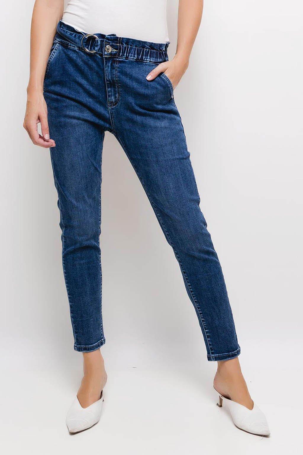 Modré dámské džíny s gumou v pase
