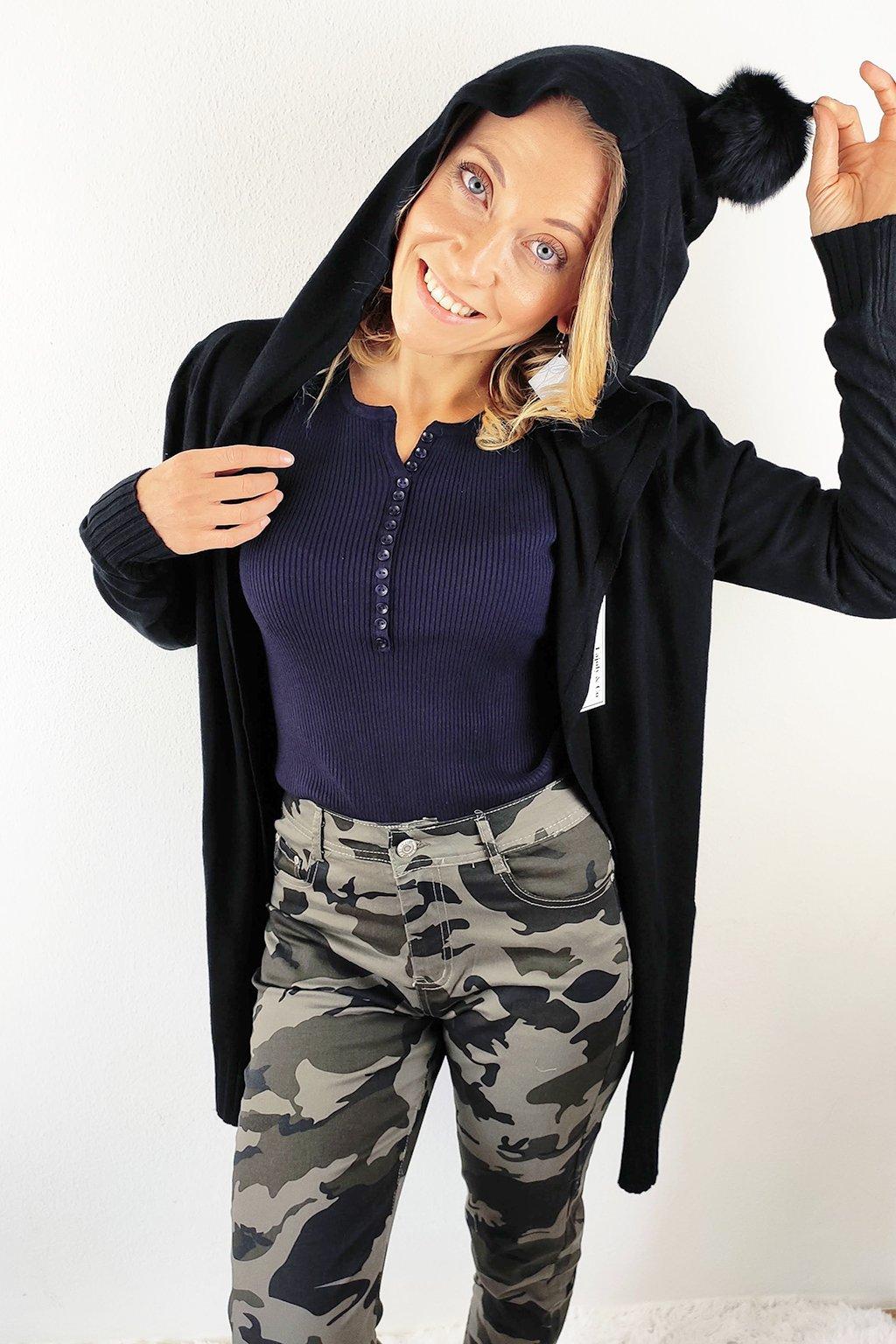 Černý dámský kardigan s kapucí