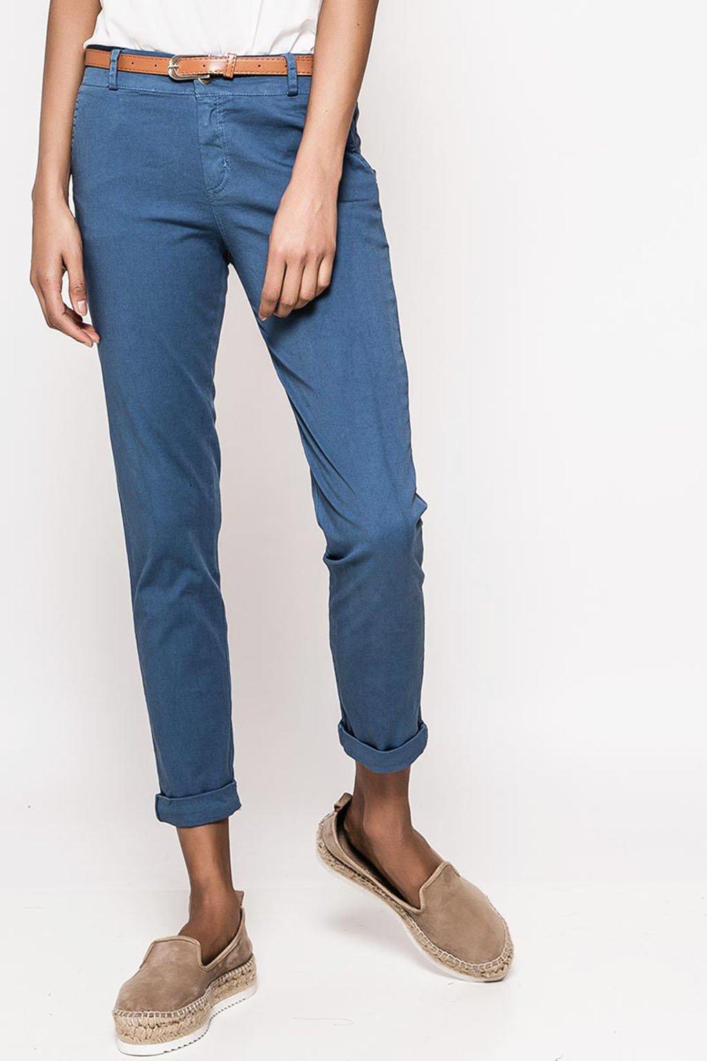 Modré dámské bavlněné kalhoty