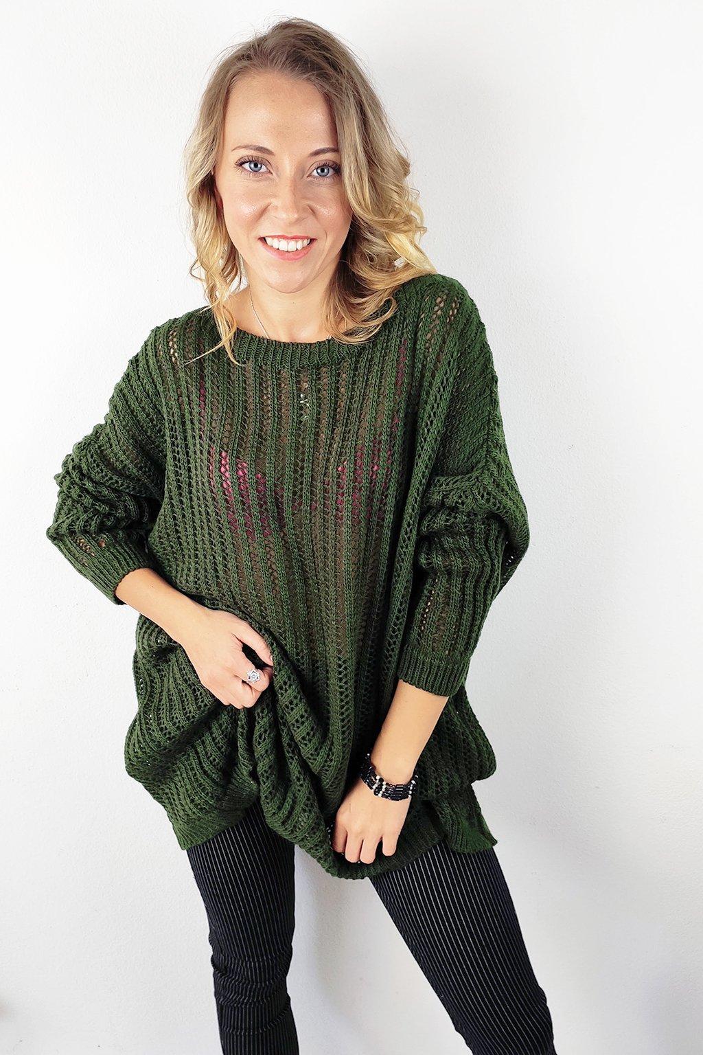 Khaki dámský oversize svetr