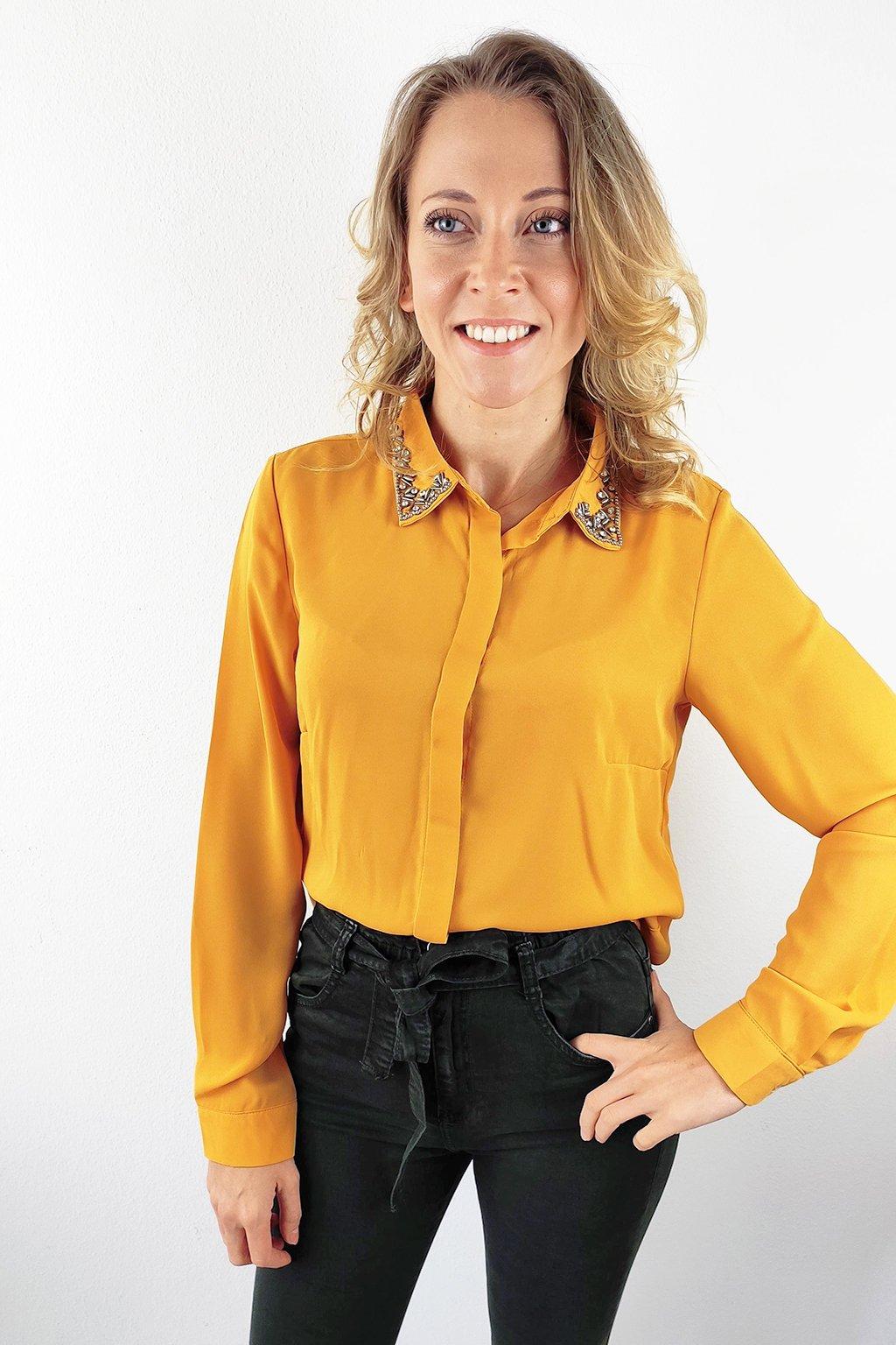 Hořčicově žlutá dámská elegantní košile