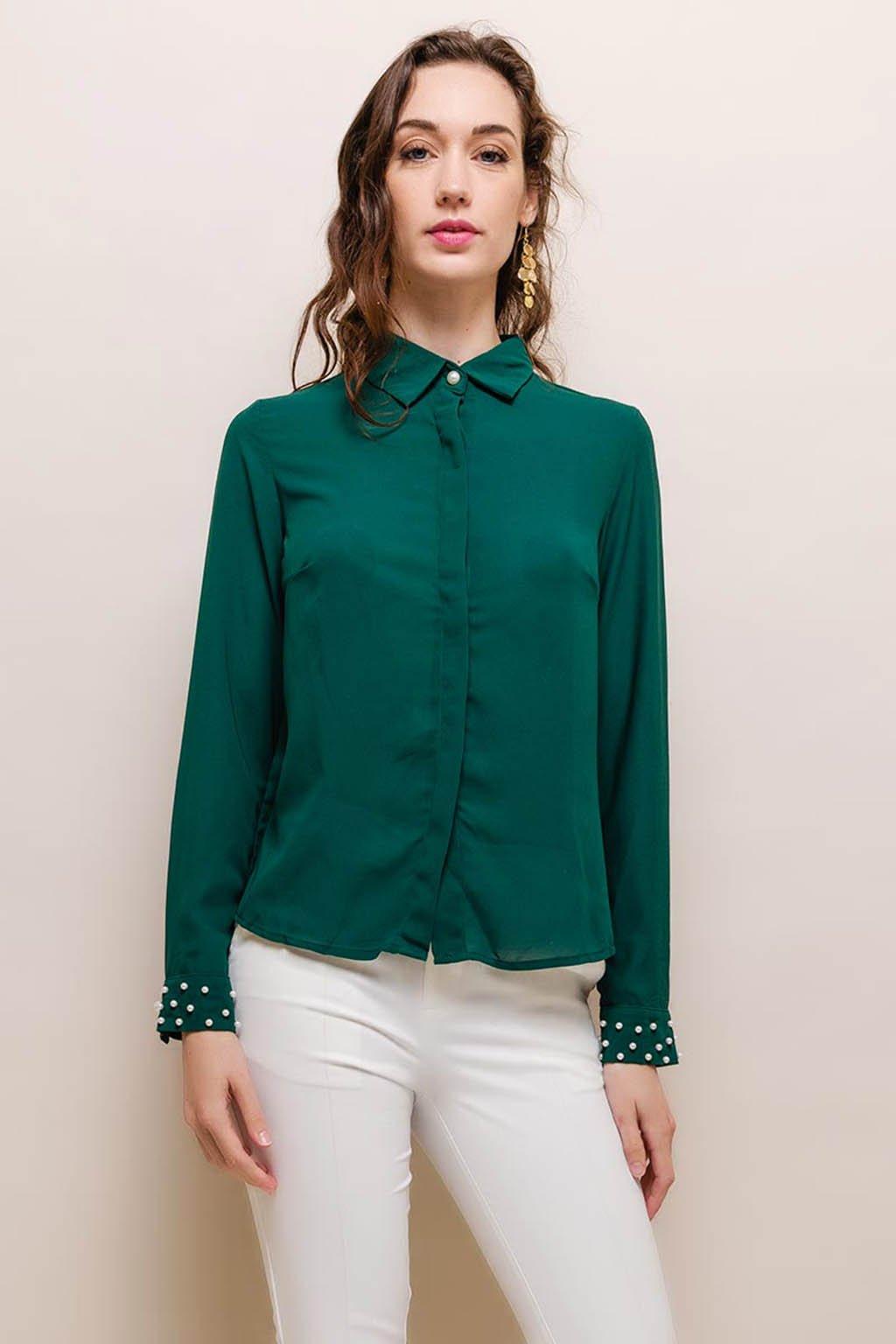 Zelená dámská košile s perličkami