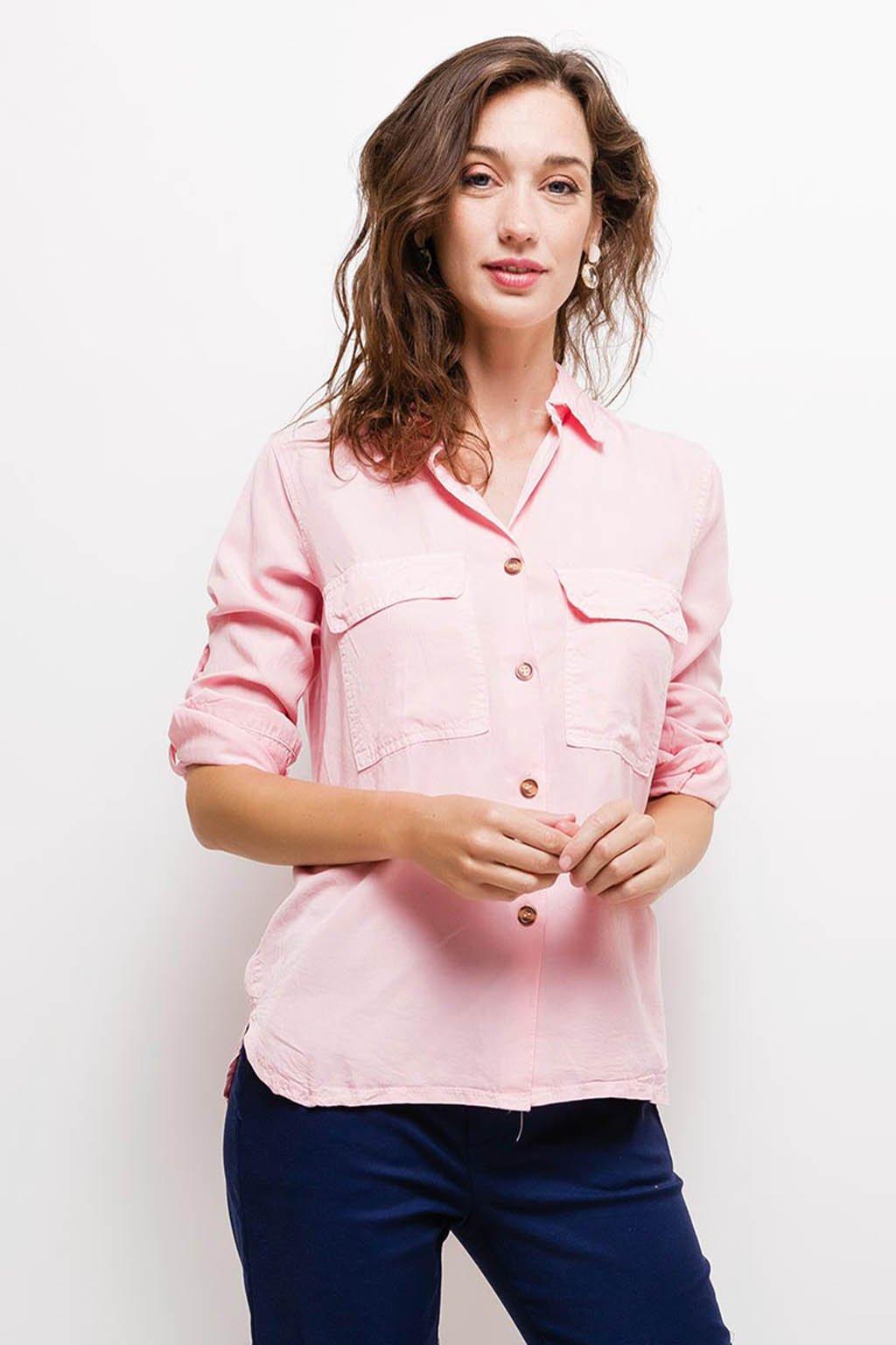Světle růžová dámská košile s kapsami (2)