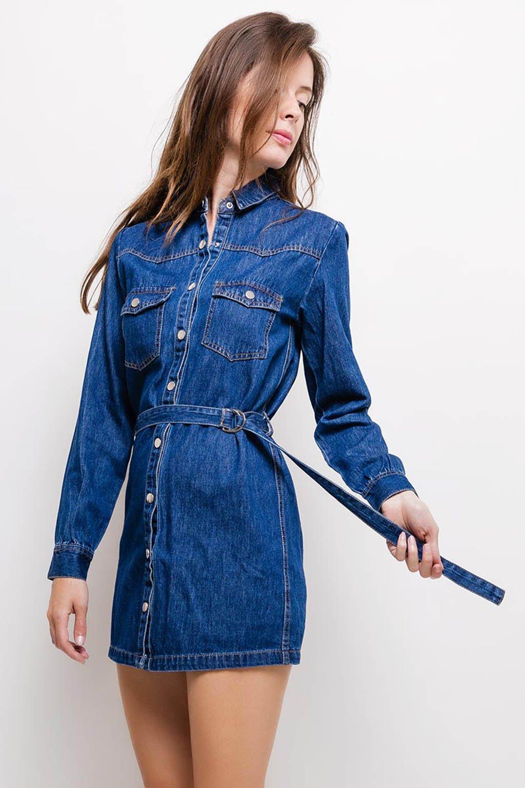 Modré dámské džínové šaty (2)