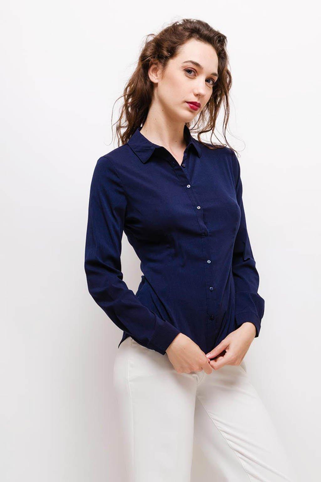 Tmavě modrá dámská košile
