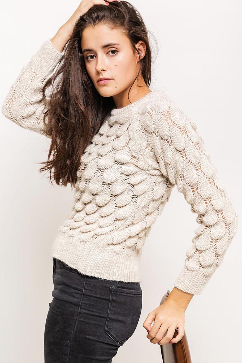 Béžový dámský svetr