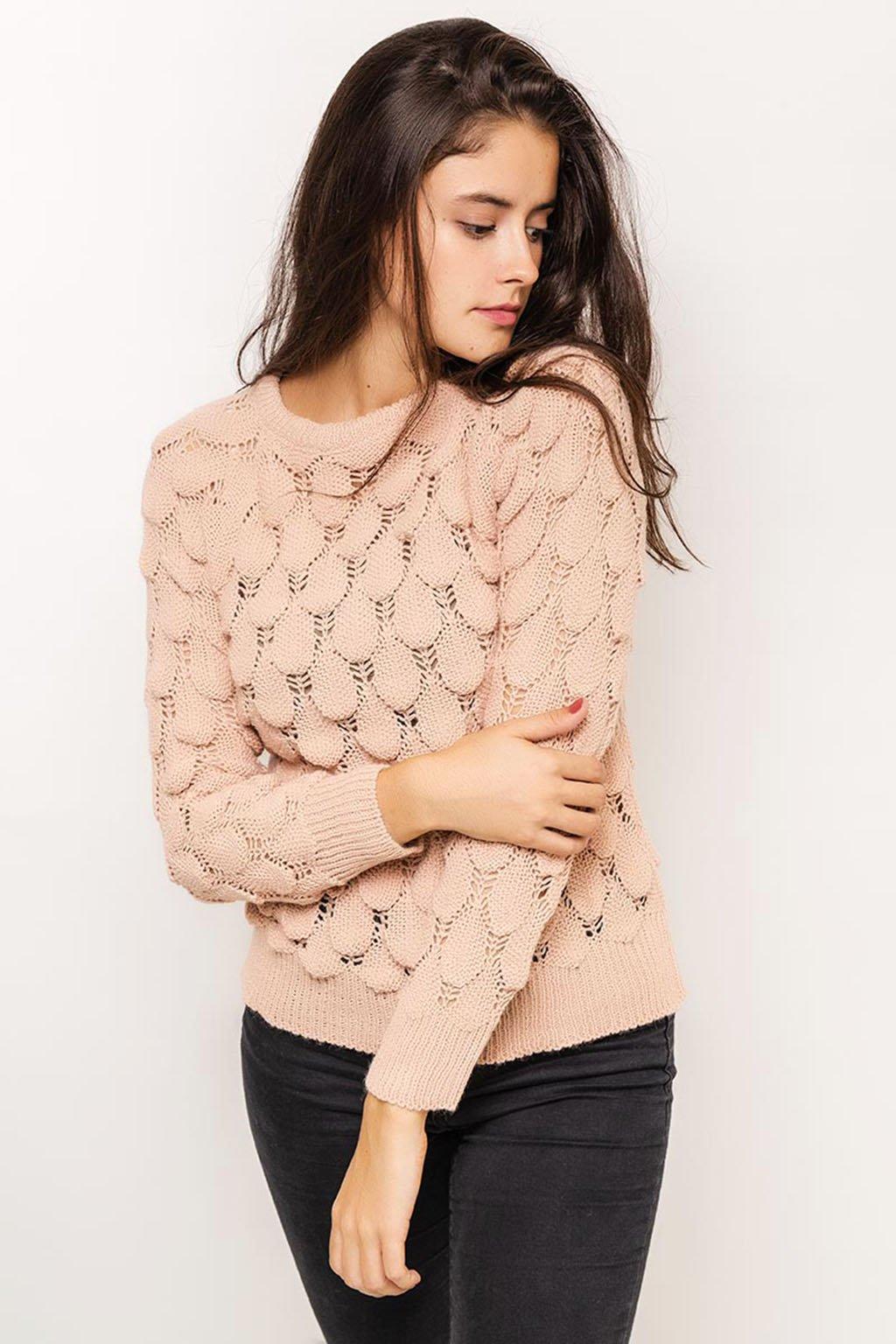 Světle růžový dámský svetr