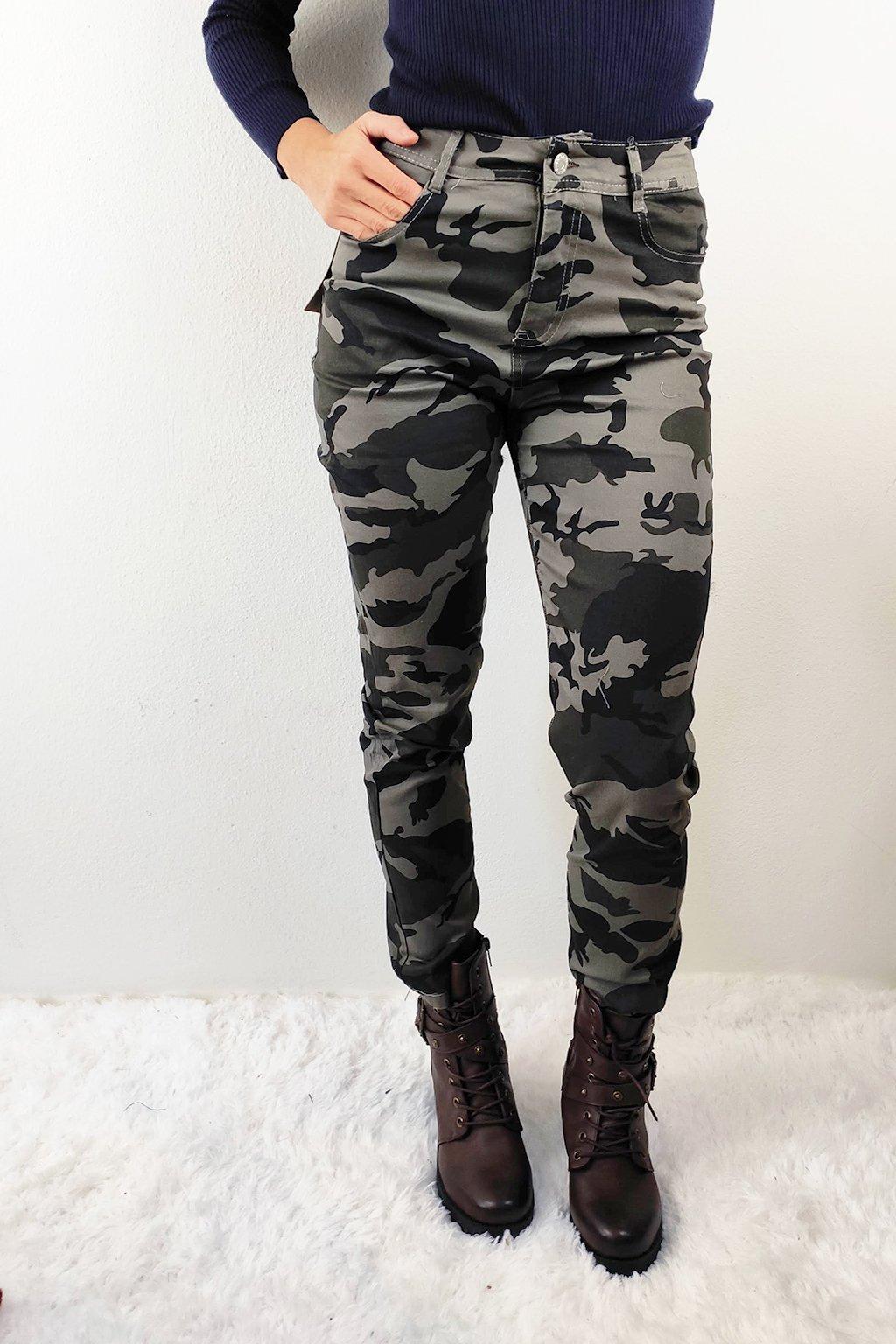 Khaki dámské kalhoty s vysokým pasem