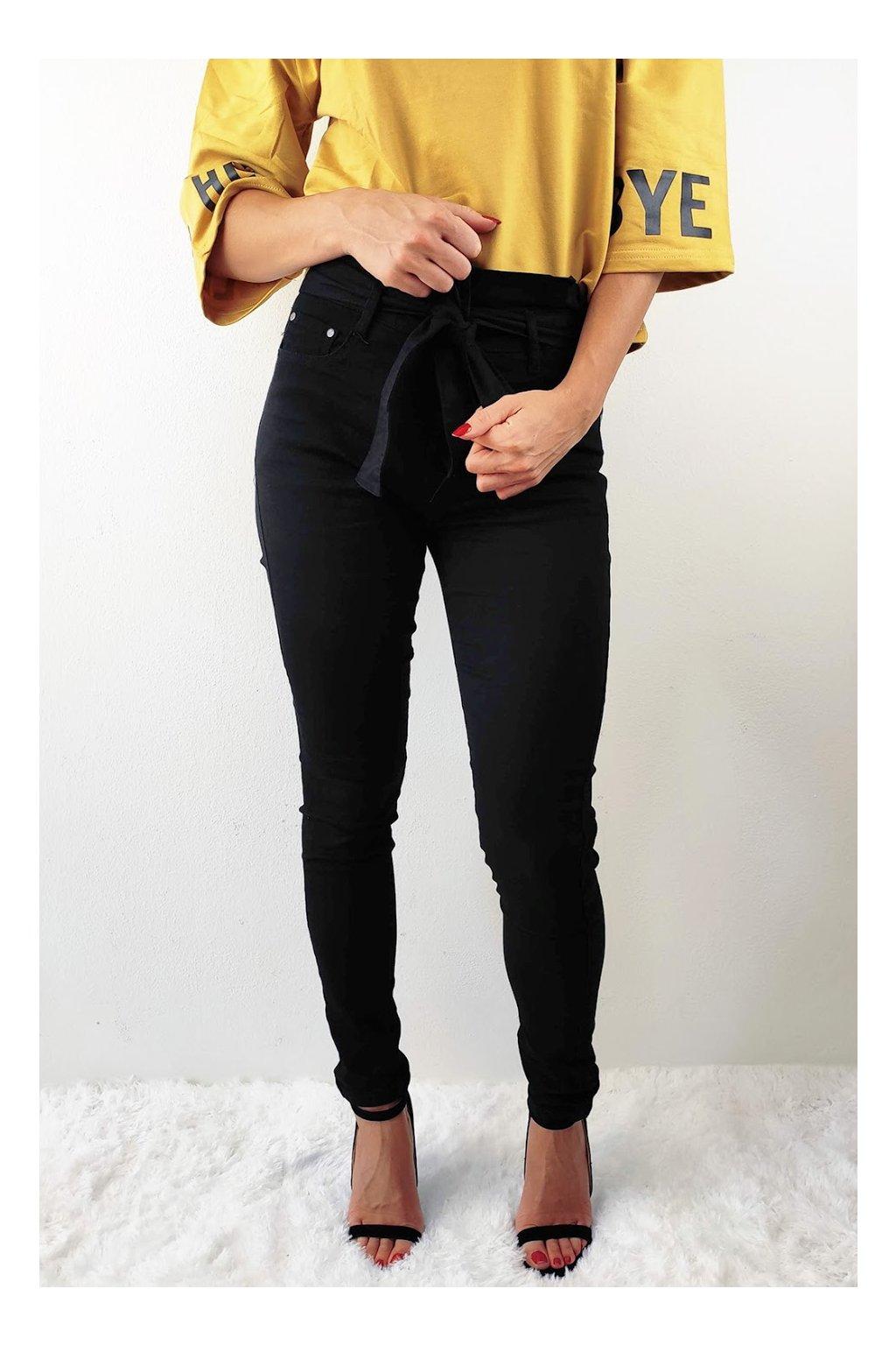 Černé dámské kalhoty s vysokým pasem