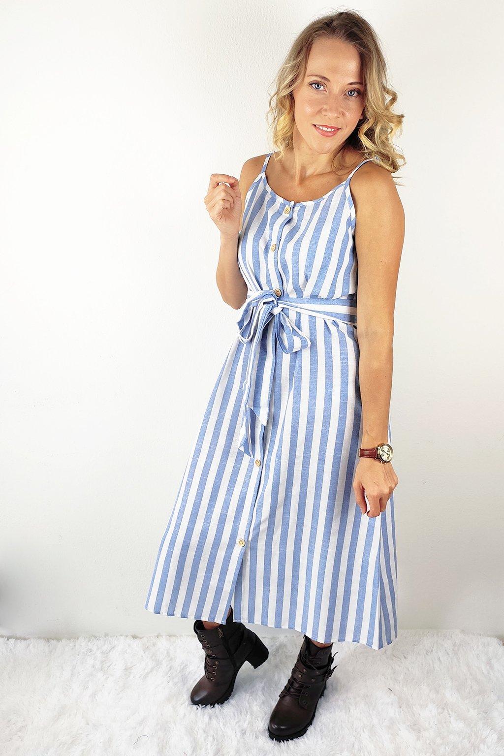 Modré dámské pruhované šaty