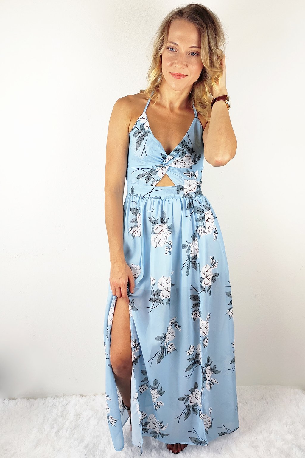 Světle modré dámské maxi šaty