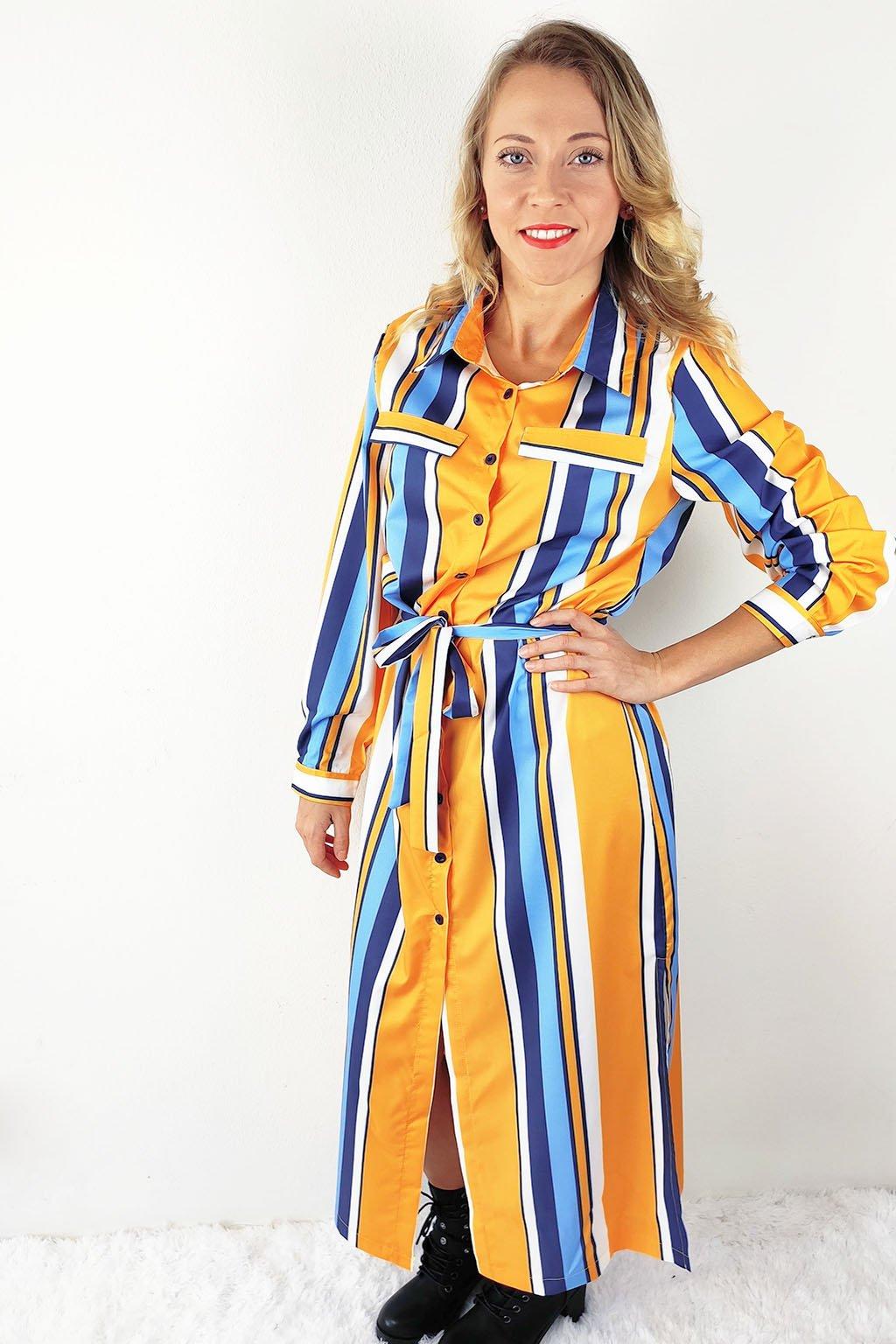 Barevné dámské košilové maxi šaty