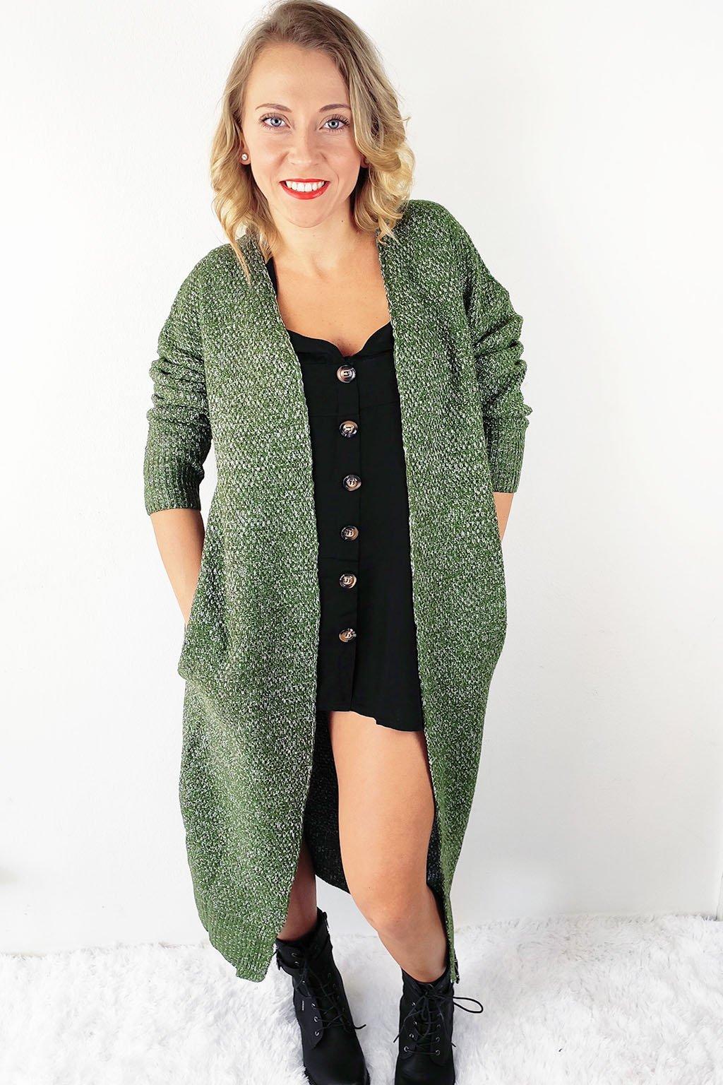 Zelený dámský kardigan