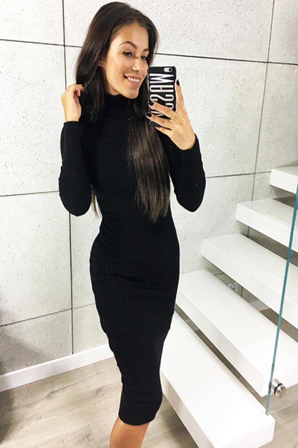 Černé dámské midi šaty s rolákem (3)