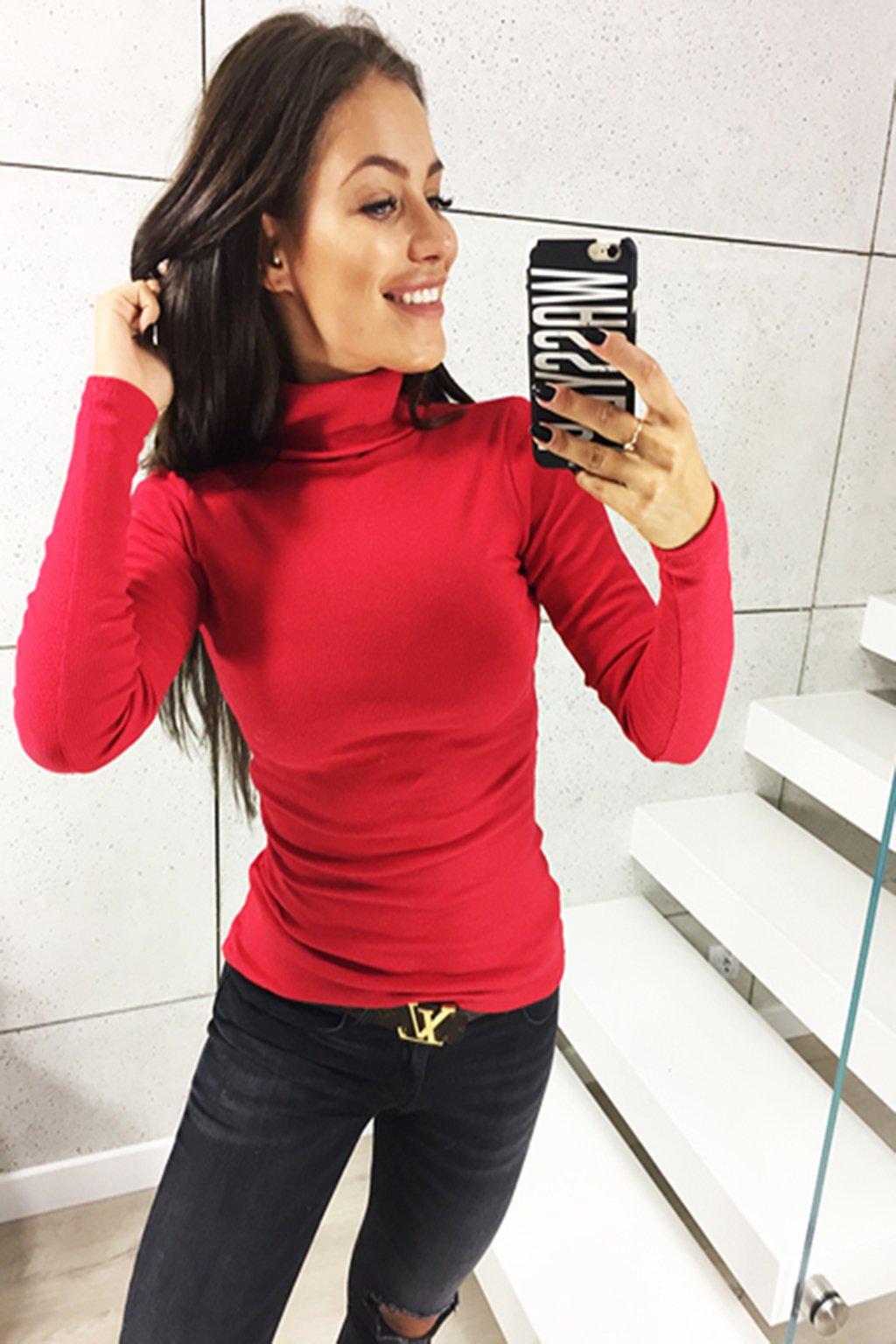 Červený dámský bavlněný rolák