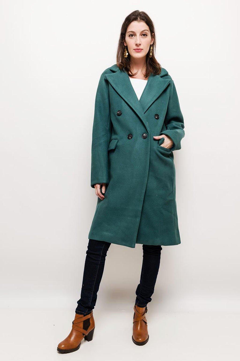Tyrkysový dámský dvouřadý kabát