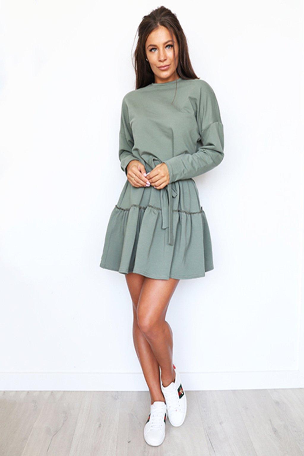 Khaki dámské bavlněné šaty (2)