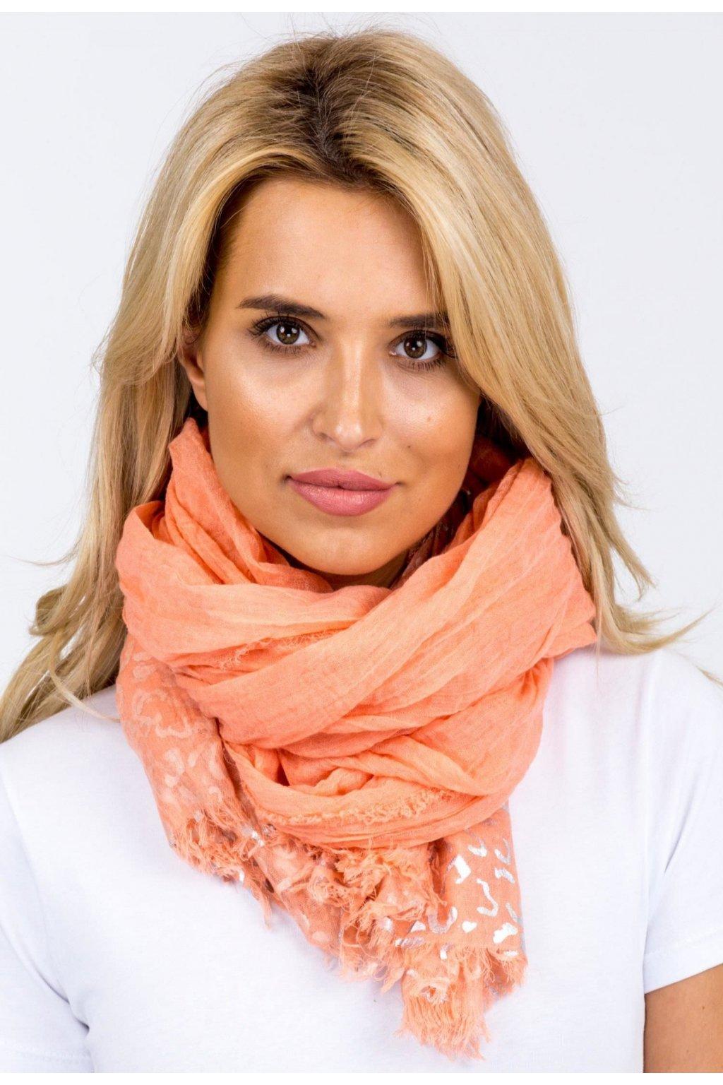 Oranžová dámská šatka