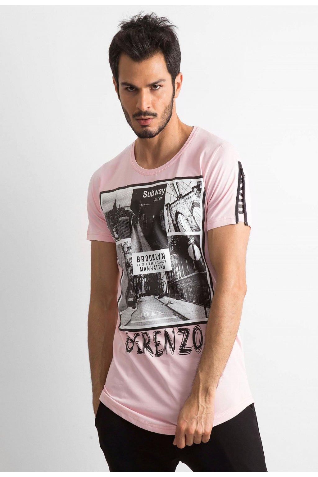 Růžové pánské tričko