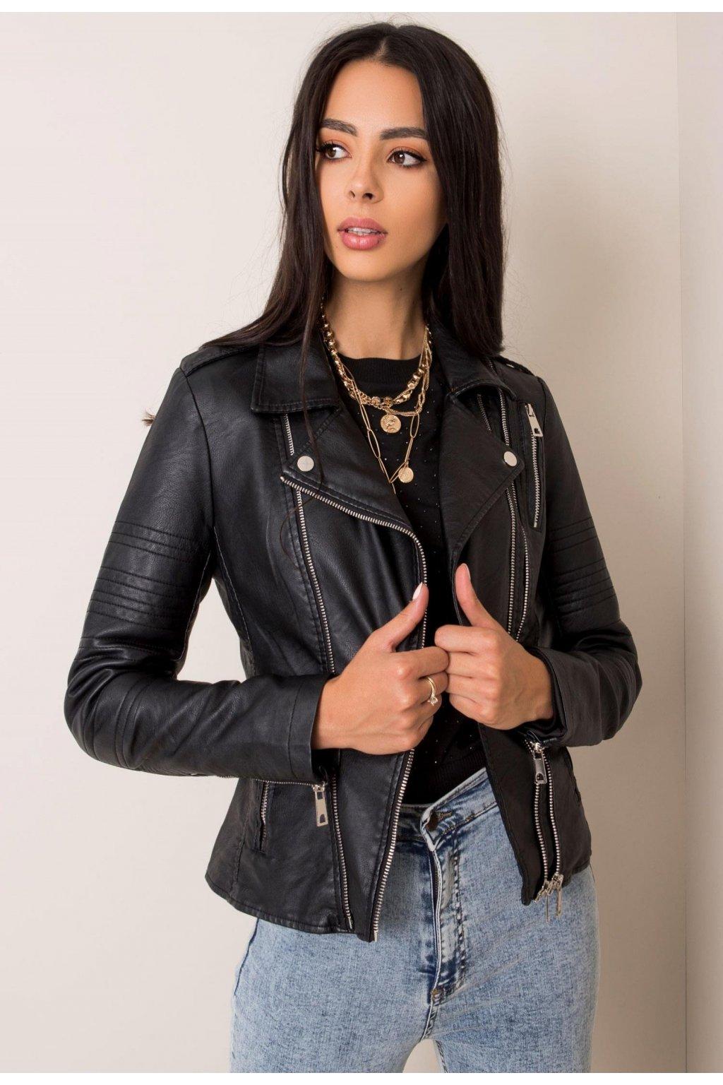 Černá dámská koženková bunda