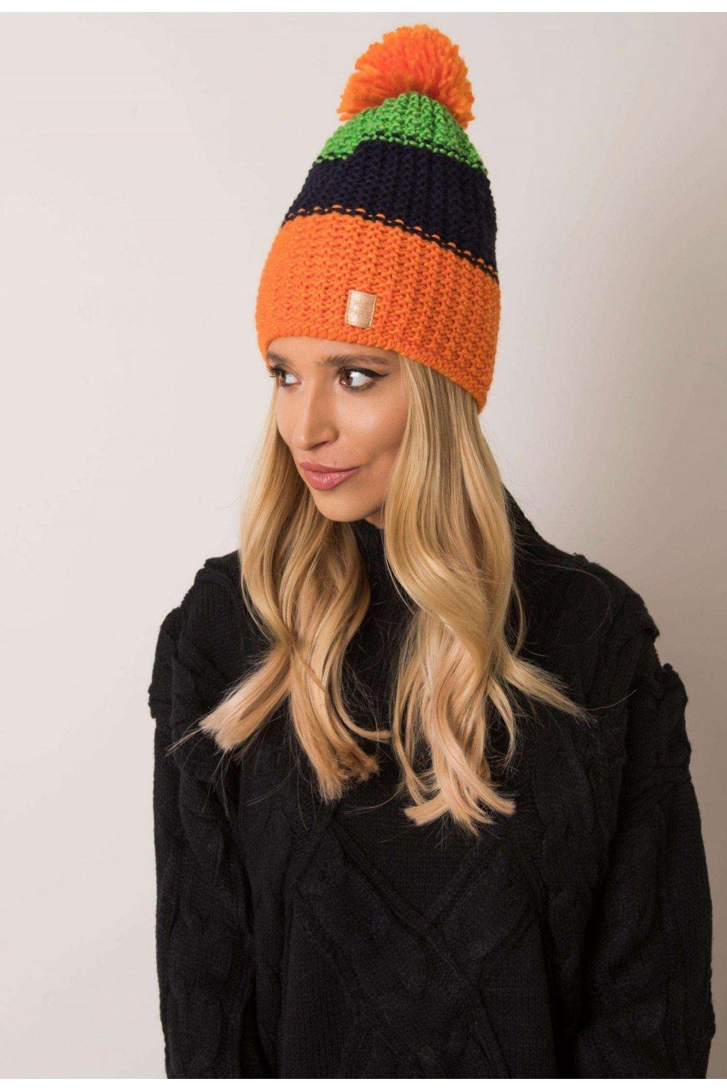Oranžová dámská čepice