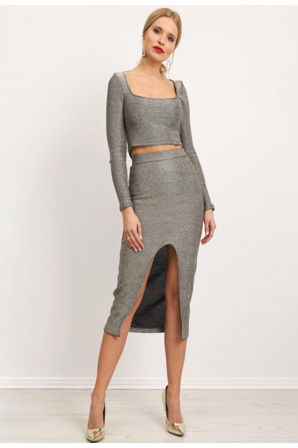 Stříbrná dámská pouzdrová sukně