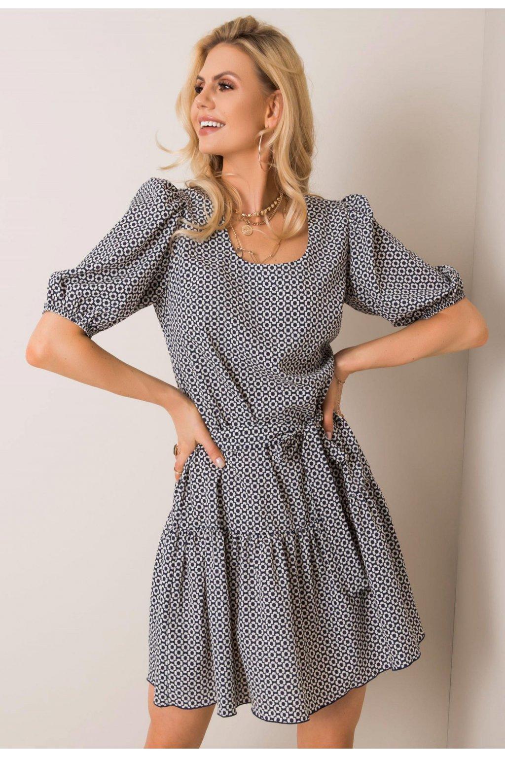 Modro - bílé dámské šaty