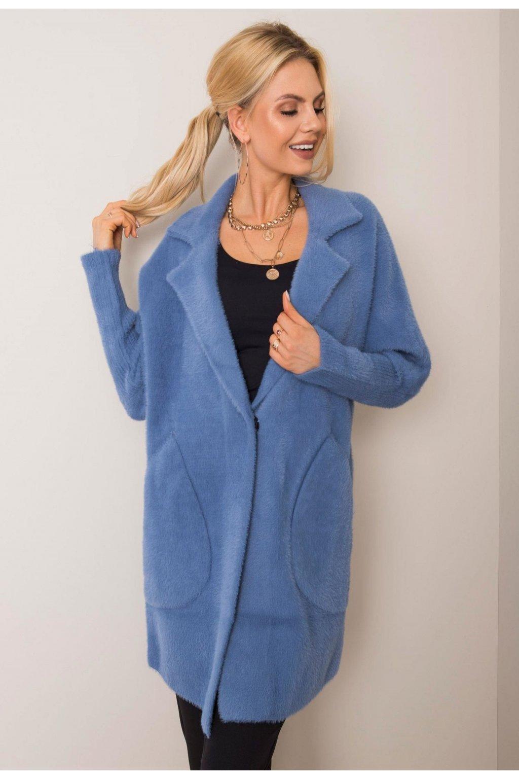 Šedo - modrý dámský kabát