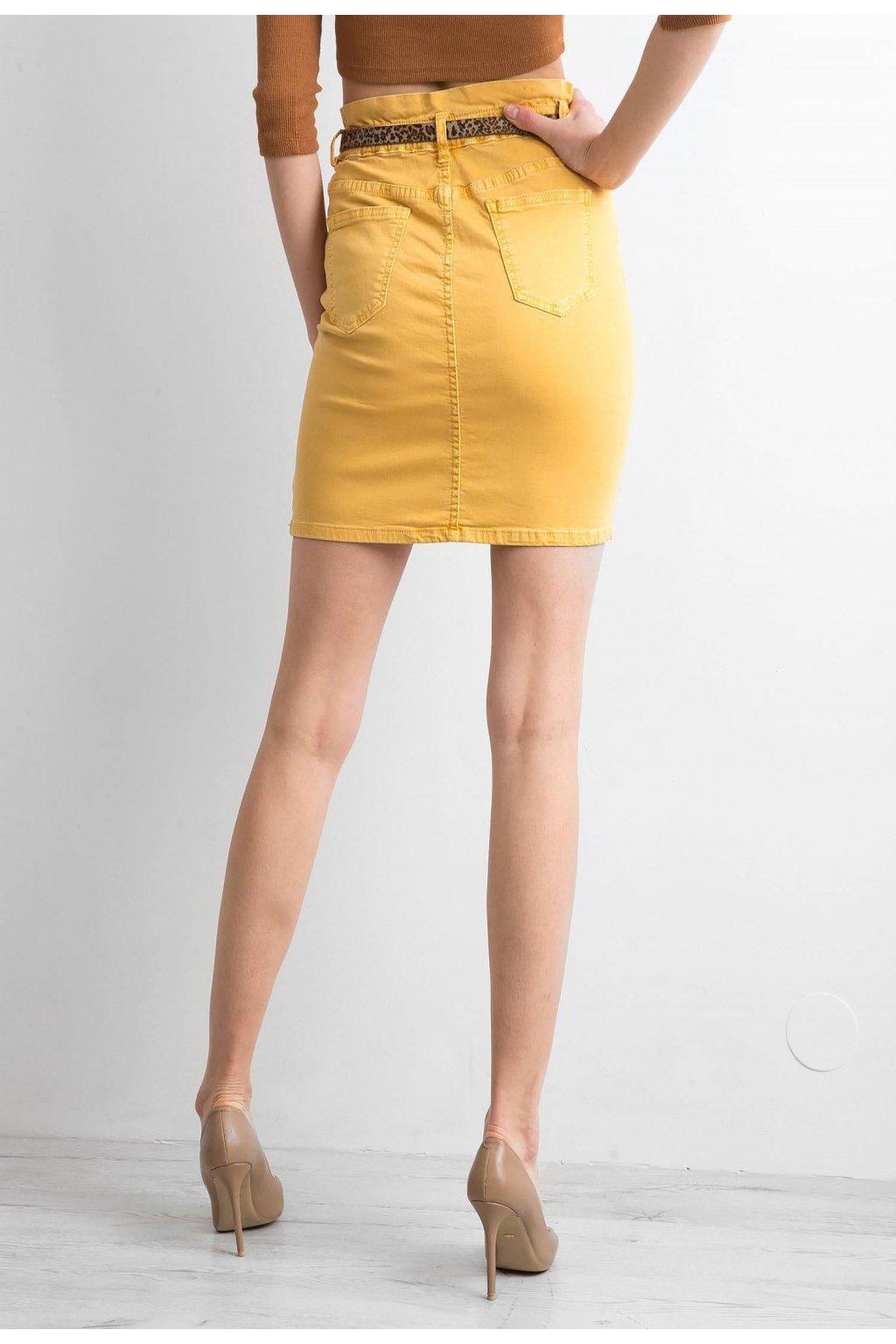 Žlutá dámská džínová sukně