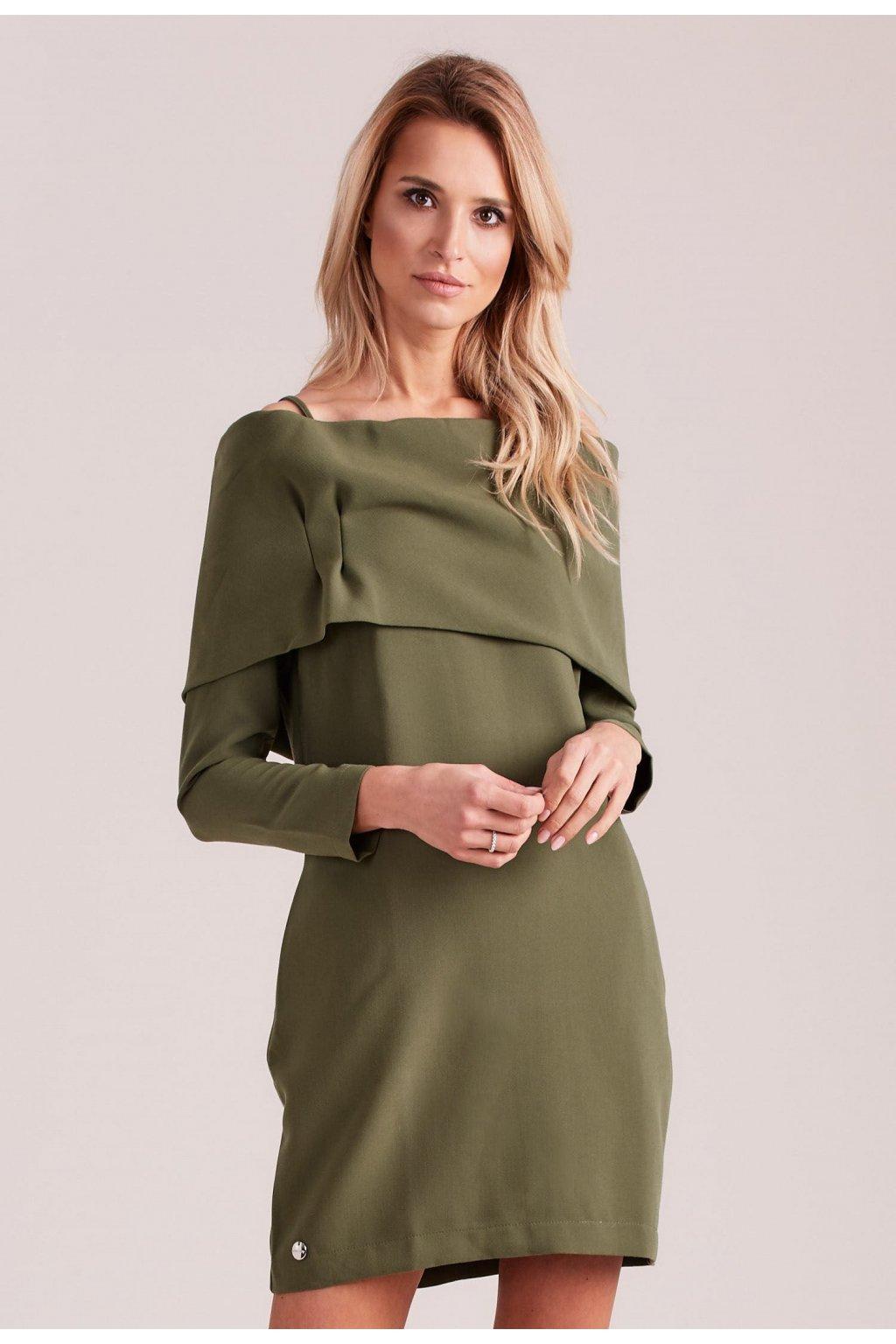 Khaki dámské koktejlové šaty