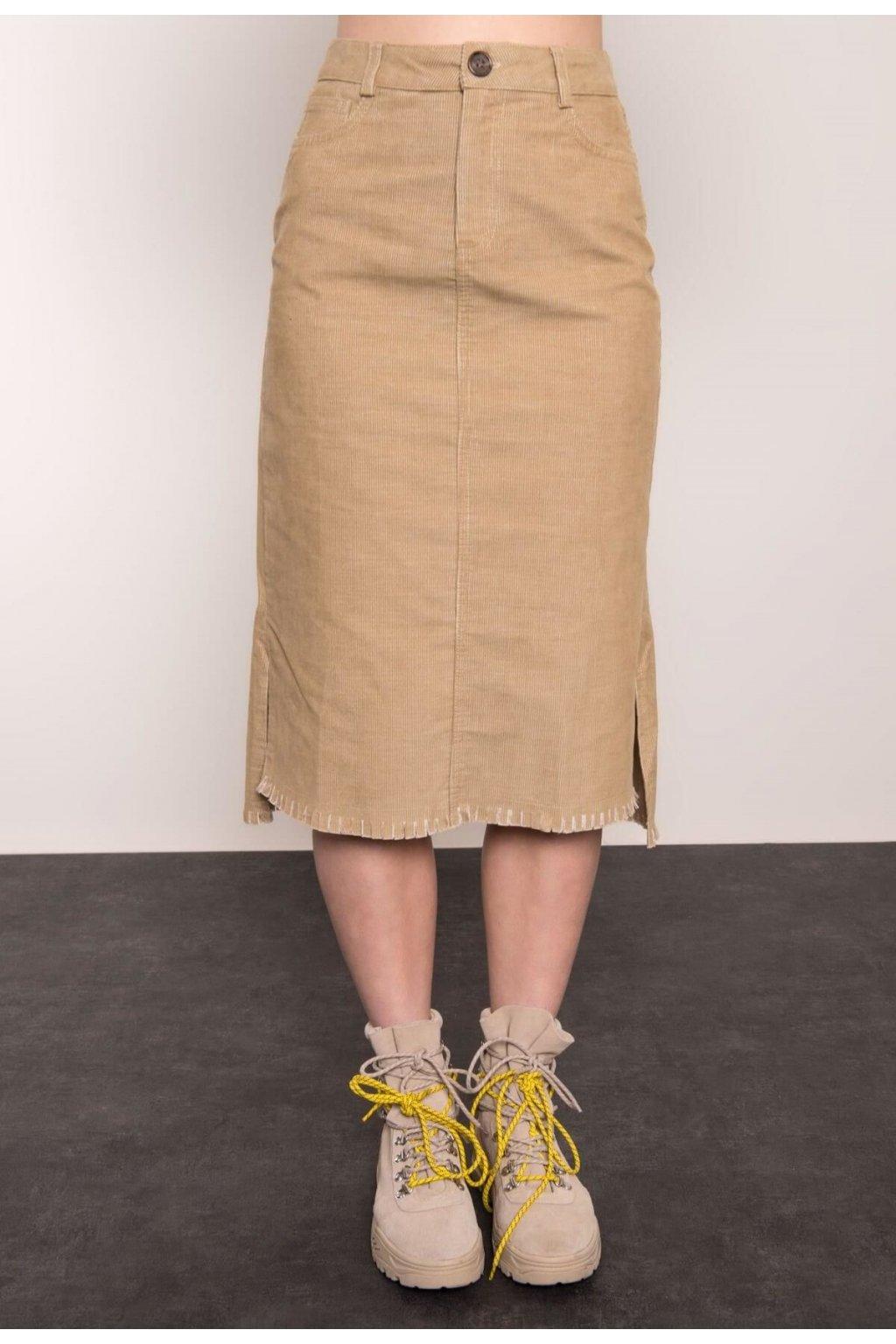 Béžová dámská pouzdrová sukně