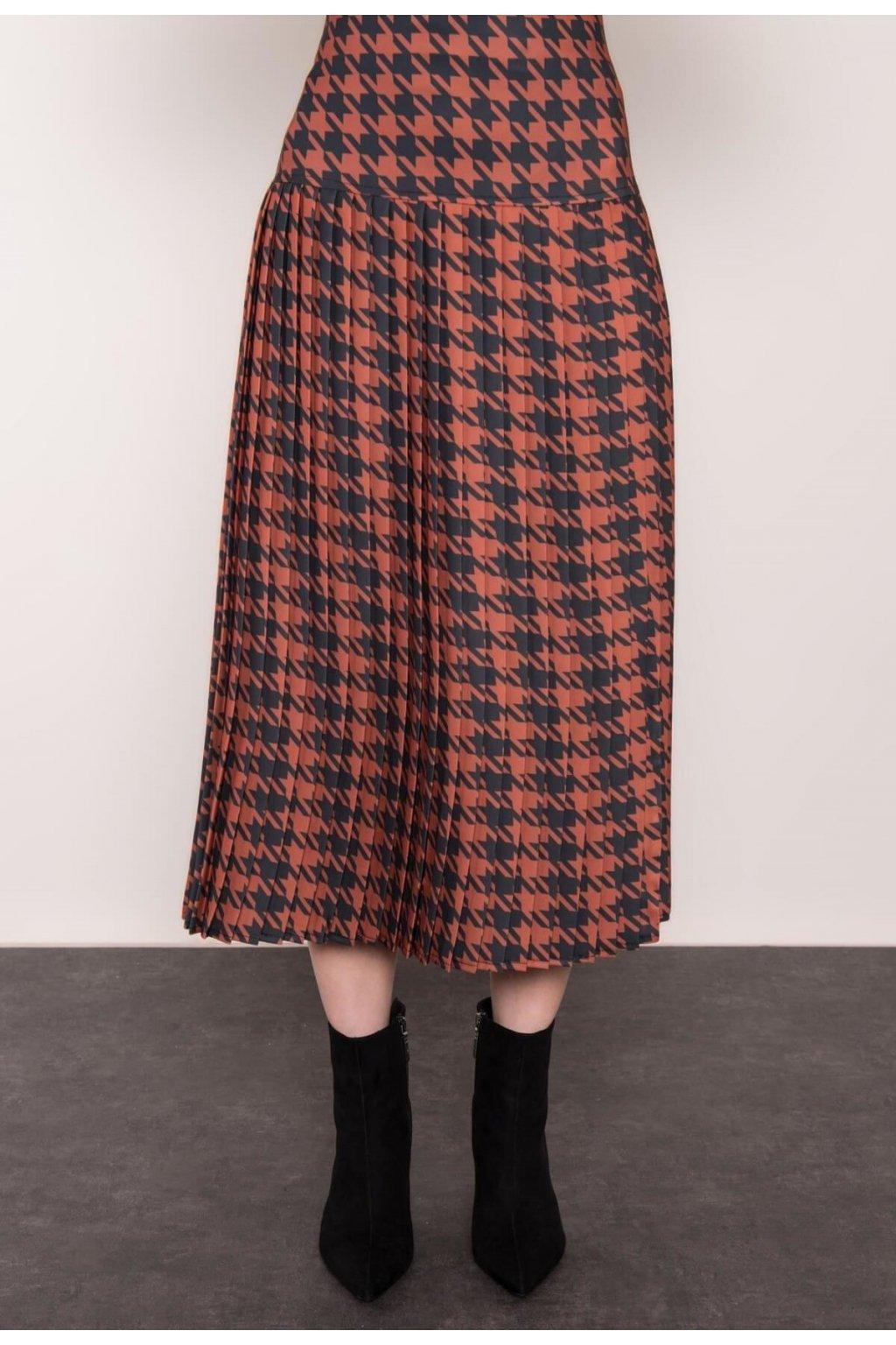 Hnědá dámská plisovaná sukně