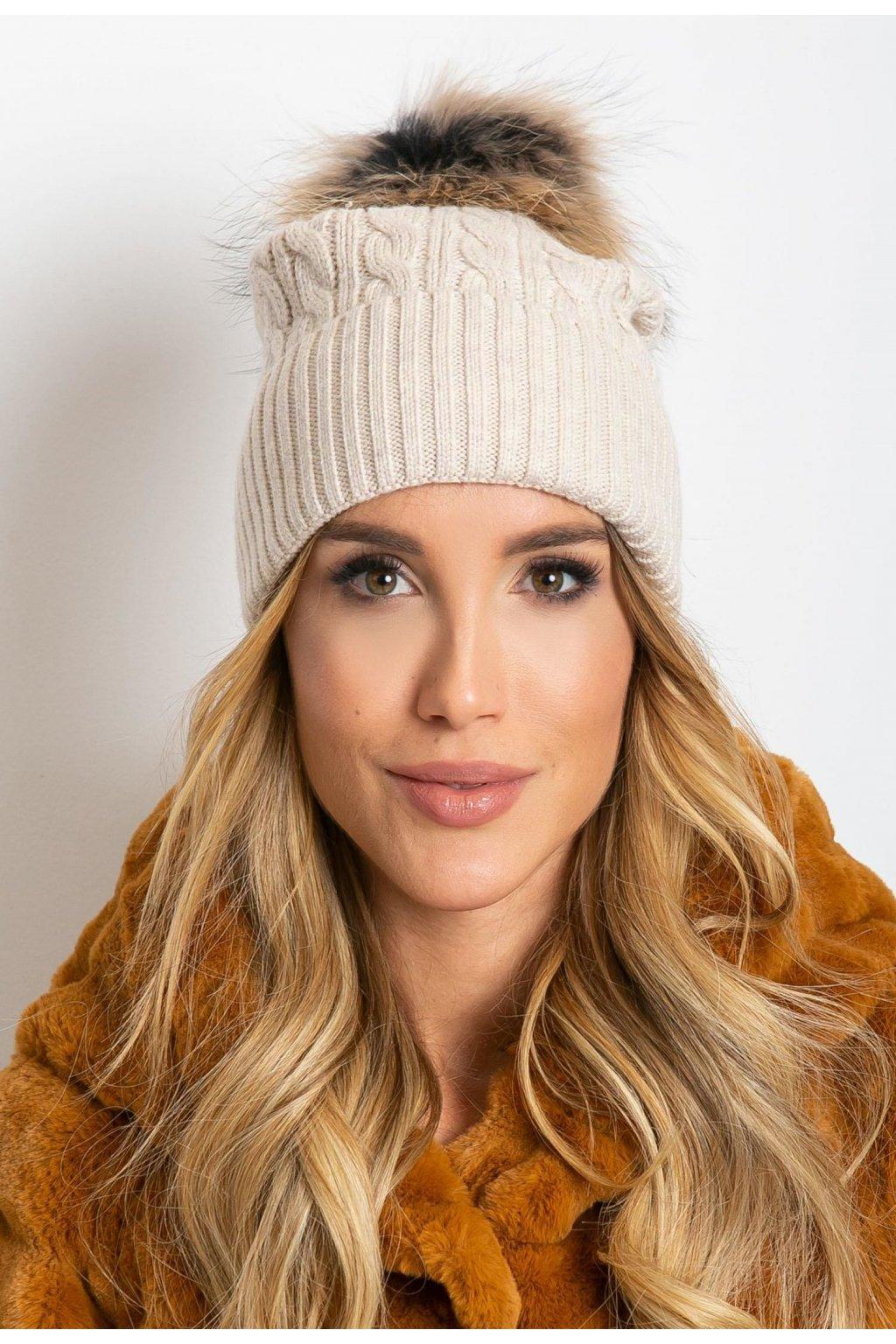 Béžová dámská čepice