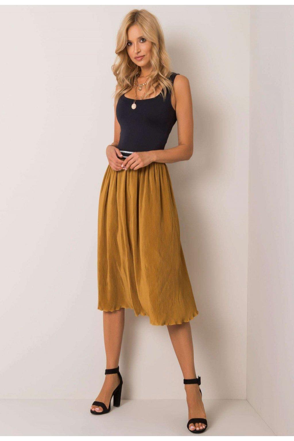Žlutá dámská plisovaná sukně