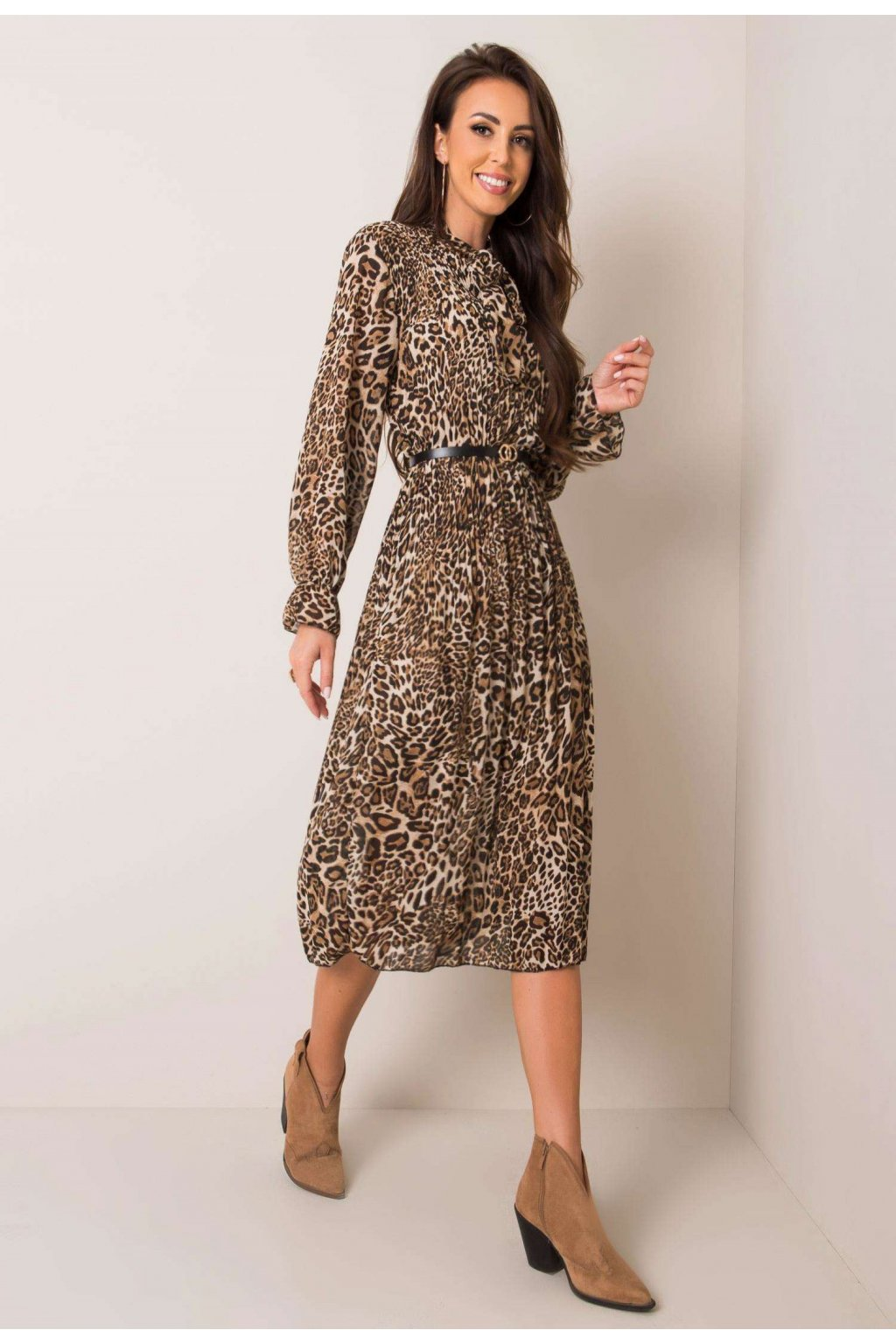 Černo - béžové dámské šaty